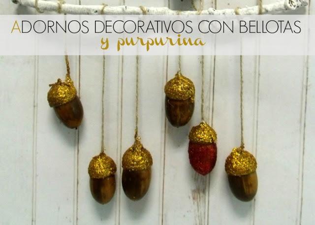 Adornos decorativos con bellotas diy manualidades gratis for Adornos decorativos