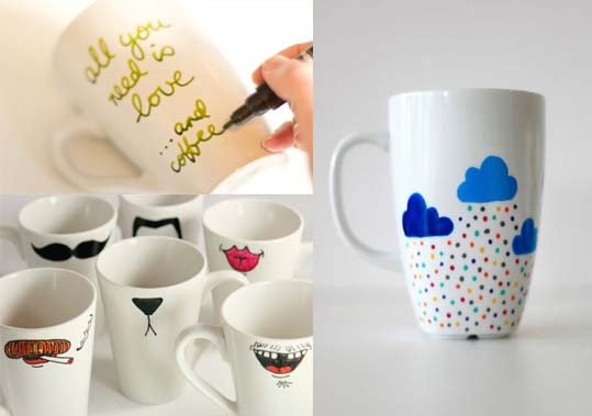C mo decorar tazas y vajilla de cer mica manualidades - Decorar tazas con rotulador permanente ...